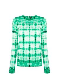 Camiseta de manga larga efecto teñido anudado en verde menta de Proenza Schouler