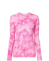 Camiseta de manga larga efecto teñido anudado rosada de Proenza Schouler