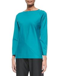 Camiseta de manga larga en verde azulado de Shamask