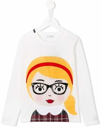 Camiseta de manga larga estampada blanca de Dolce & Gabbana