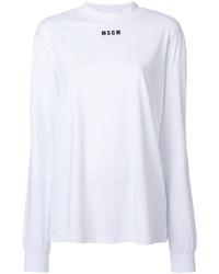 Camiseta de Manga Larga Estampada Blanca de MSGM