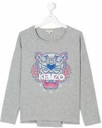 Camiseta de manga larga estampada gris de Kenzo