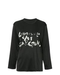 Camiseta de manga larga estampada negra de Comme Des Garçons Vintage