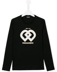 Camiseta de manga larga estampada negra de DSQUARED2