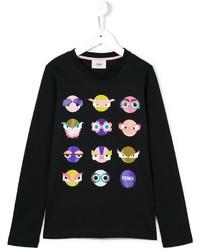 Camiseta de manga larga estampada negra de Fendi