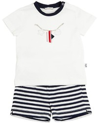 Camiseta de rayas horizontales blanca de Il Gufo