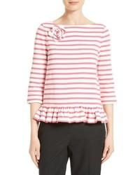 Camiseta de rayas horizontales blanca de Kate Spade