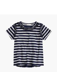 Camiseta de rayas horizontales en blanco y azul marino de J.Crew