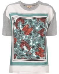 Camiseta de seda estampada gris de Burberry