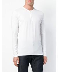 Camiseta henley de manga larga blanca de Majestic Filatures