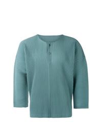 Camiseta henley en verde azulado de Homme Plissé Issey Miyake