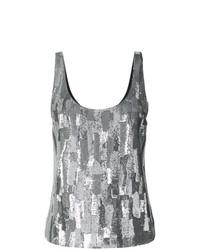 Camiseta sin manga con adornos plateada de Saint Laurent