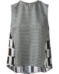 Camiseta sin manga con estampado geométrico en negro y blanco de Kenzo
