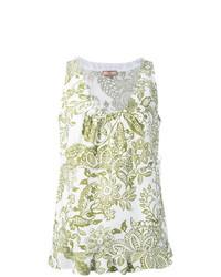 Camiseta sin manga con print de flores blanca de Fay