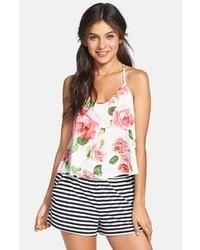 Camiseta sin manga con print de flores blanca de Lush