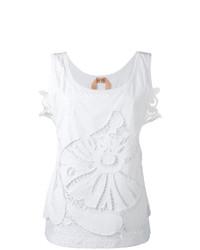 Camiseta sin manga con print de flores blanca de N°21