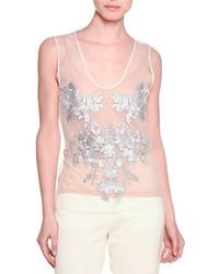 Camiseta sin manga con print de flores en beige de Stella McCartney