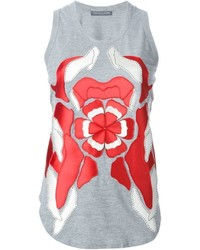 Camiseta sin manga con print de flores gris de Alexander McQueen
