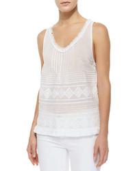 Camiseta sin manga con volante blanca de Calypso St. Barth