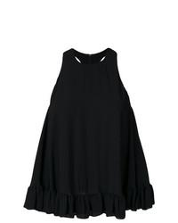 Camiseta sin manga con volante negra de MSGM