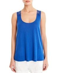Camiseta sin Manga de Crochet Azul de Michael Stars