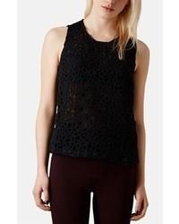 Camiseta sin manga de crochet negra