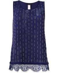 Camiseta sin Manga de Encaje Azul Marino de Twin-Set