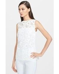 Camiseta sin manga de encaje blanca de Escada