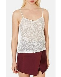 Camiseta sin manga de encaje blanca de Topshop