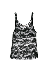 Camiseta sin manga de encaje negra de Saint Laurent