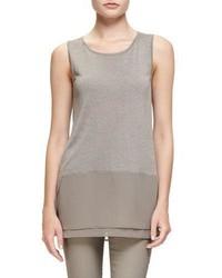 Camiseta sin manga de gasa de punto gris de Nic+Zoe