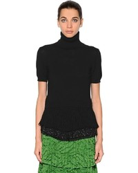 Camiseta sin Manga de Lana Сon Flecos Negra de N°21