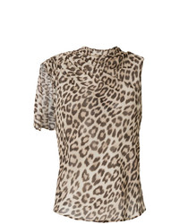 Camiseta sin Manga de Leopardo Marrón Claro de Twin-Set