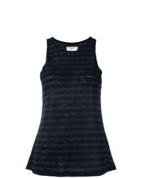 Camiseta sin manga de rayas horizontales azul marino de Frame Denim