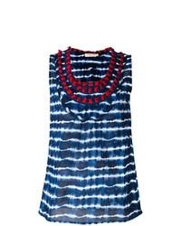 Camiseta sin manga de rayas horizontales azul marino de Tory Burch