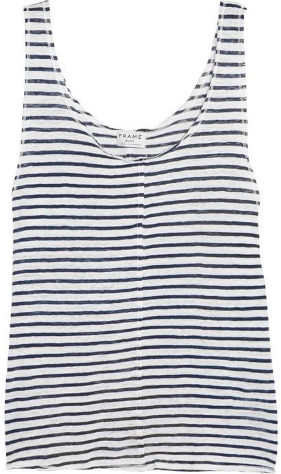 Camiseta sin manga de rayas horizontales en blanco y azul marino de Frame Denim