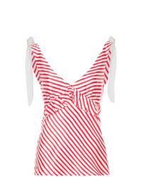 Camiseta sin manga de rayas horizontales en blanco y rojo de Maggie Marilyn
