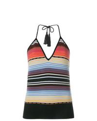 Camiseta sin manga de rayas horizontales en multicolor de Laneus