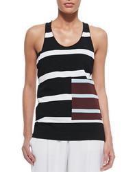 Camiseta sin manga de rayas horizontales en negro y blanco de Stella McCartney