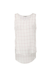 Camiseta sin manga de seda a cuadros blanca de Egrey