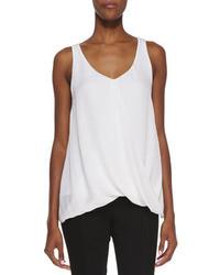 Camiseta sin manga de seda blanca de Alice + Olivia