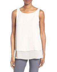 Camiseta sin manga de seda blanca de Eileen Fisher