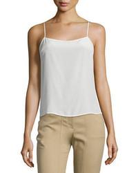 Camiseta sin manga de seda blanca de Halston