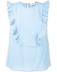 Camiseta sin manga de seda celeste de Fendi