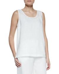 Camiseta sin manga de seda con recorte blanca de Go Silk