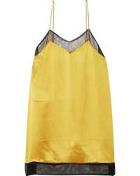 Camiseta sin manga de seda dorada de Gucci