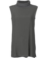 Camiseta sin manga de seda en gris oscuro de Fabiana Filippi