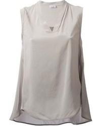 Camiseta sin manga de seda gris de Brunello Cucinelli