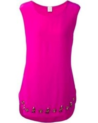Camiseta sin manga de seda rosa