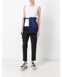 Camiseta sin Manga en Blanco y Azul Marino de Erika Cavallini